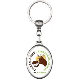 Porte clés métal ovale